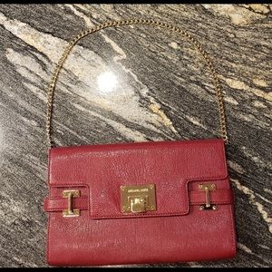 Michael Kors Collection Red Leather Shoulder Bag